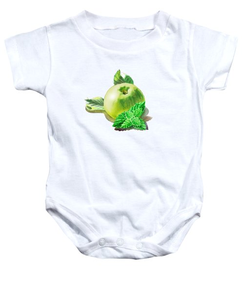 Baby Onesie featuring the painting Green Apple And Mint Happy Union by Irina Sztukowski