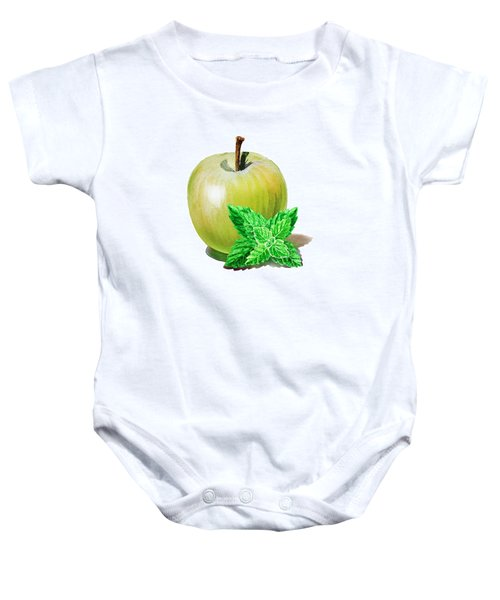 Baby Onesie featuring the painting Green Apple And Mint by Irina Sztukowski