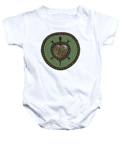 Green Heart Turtle Baby Onesie
