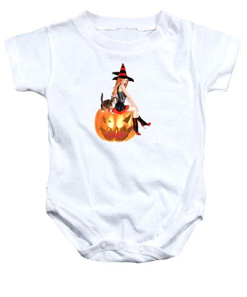 Halloween Witch Nicki With Kitten Baby Onesie
