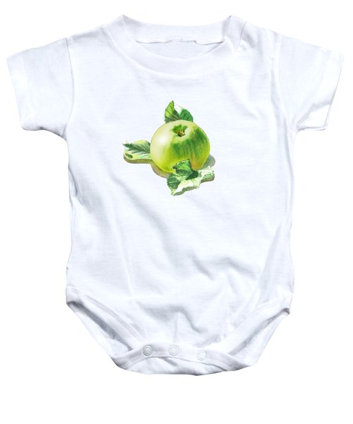 Baby Onesie featuring the painting Happy Green Apple by Irina Sztukowski