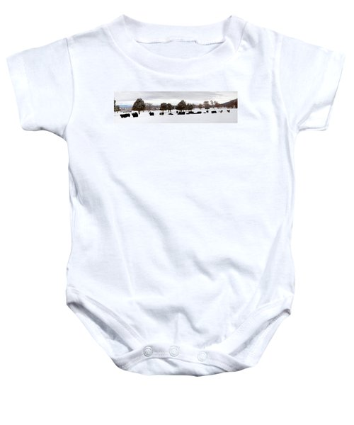 Herd Of Yaks Bos Grunniens On Snow Baby Onesie by Panoramic Images