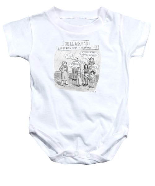 'hillary's Listening Tour Of Apartment 8-b' Baby Onesie by Roz Chast