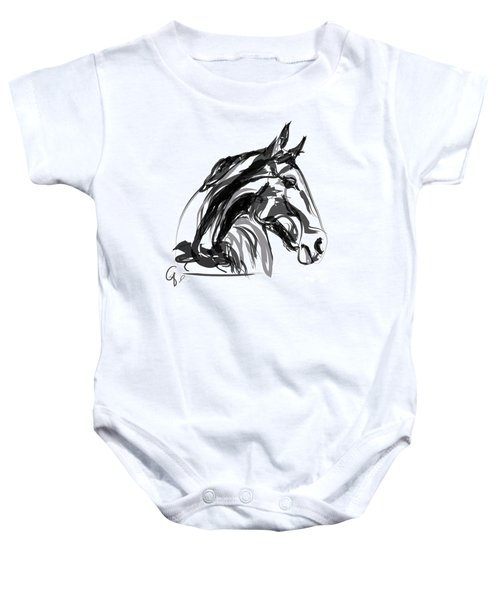 Baby Onesie featuring the painting Horse- Apple -digi - Black And White by Go Van Kampen