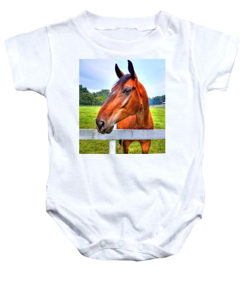 Baby Onesie featuring the photograph Horse Closeup by Jonny D