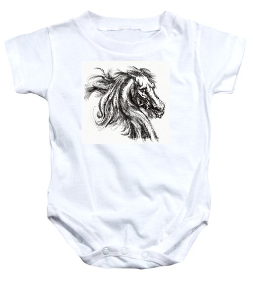 Horse Face Ink Sketch Drawing - Inventing A Horse Baby Onesie