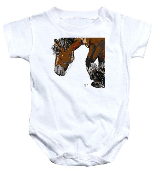 Baby Onesie featuring the painting horse - Guus by Go Van Kampen