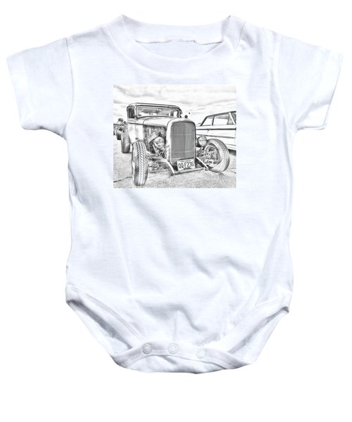 Hot Rod Faux Sketch Baby Onesie
