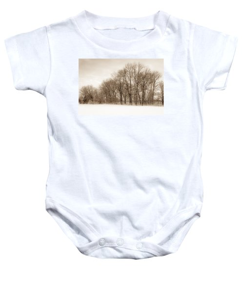 Indiana Winter At Freedom Park - Horizontal Baby Onesie