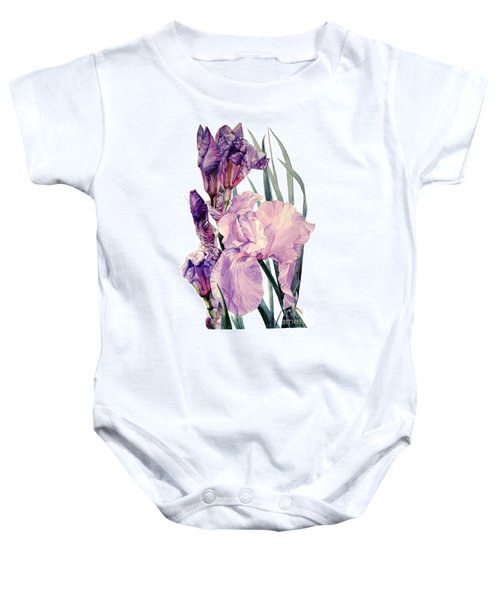 Watercolor Of An Elegant Tall Bearded Iris In Pink And Purple I Call Iris Joan Sutherland Baby Onesie