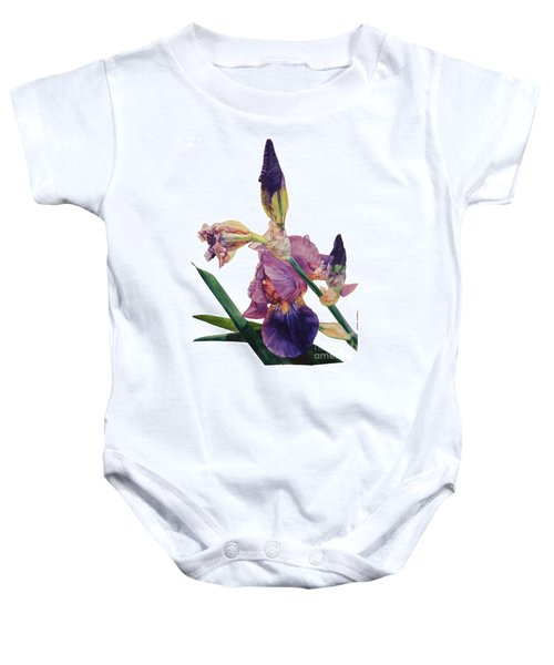 Watercolor Of A Tall Bearded Iris In A Color Rhapsody Baby Onesie