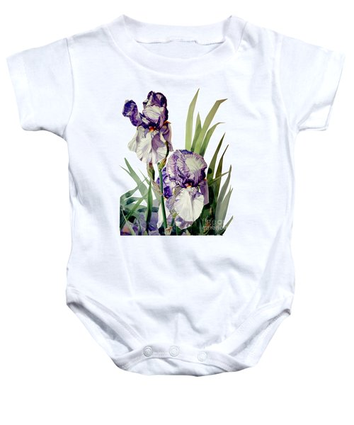 Watercolor Of A Tall Bearded Iris In Violet And White I Call Iris Selena Marie Baby Onesie