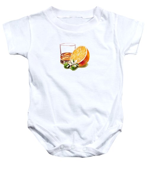 Baby Onesie featuring the painting Irish Whiskey And Orange by Irina Sztukowski
