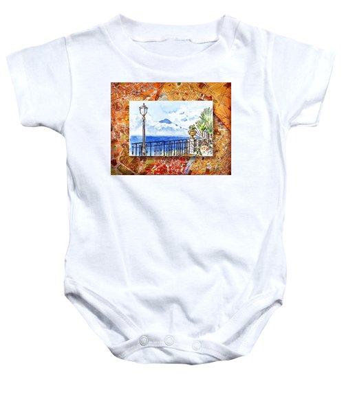 Italy Sketches Sorrento View On Volcano Vesuvius  Baby Onesie
