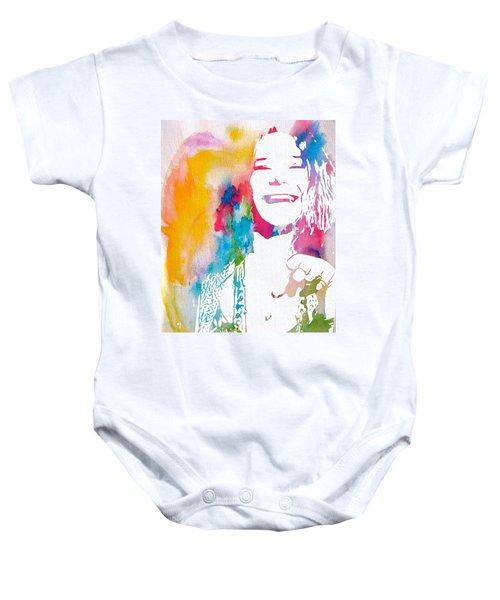 Janis Joplin Watercolor Baby Onesie