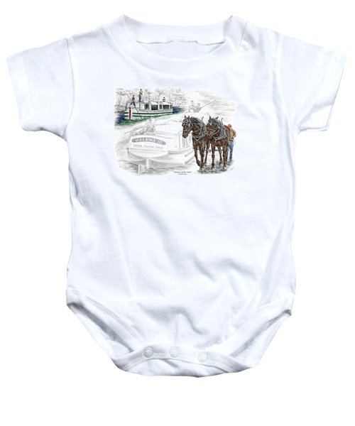 Journeys On The Canal - Canal Boat Print Color Tinted Baby Onesie