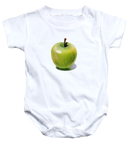 Baby Onesie featuring the painting Juicy Green Apple by Irina Sztukowski