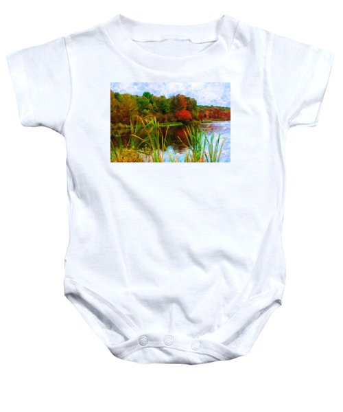 Lake In Early Fall Baby Onesie