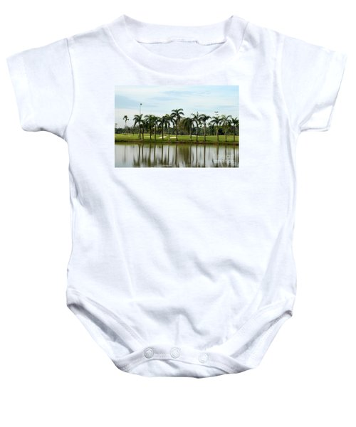 Lake Sand Traps Palm Trees And Golf Course Singapore Baby Onesie