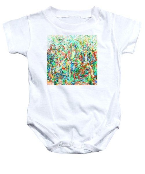 Led Zeppelin - Watercolor Portrait.1 Baby Onesie by Fabrizio Cassetta