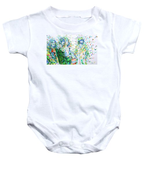 Led Zeppelin - Watercolor Portrait.2 Baby Onesie by Fabrizio Cassetta