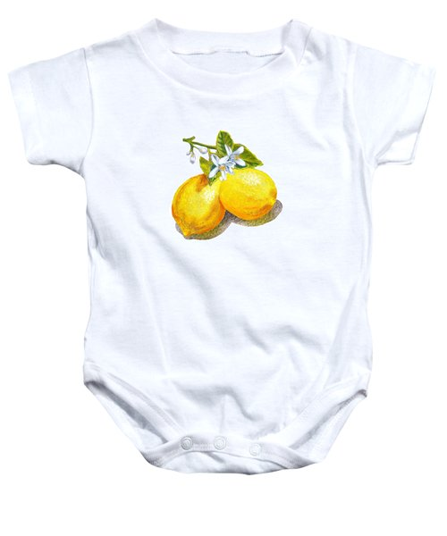 Baby Onesie featuring the painting Lemons And Blossoms by Irina Sztukowski