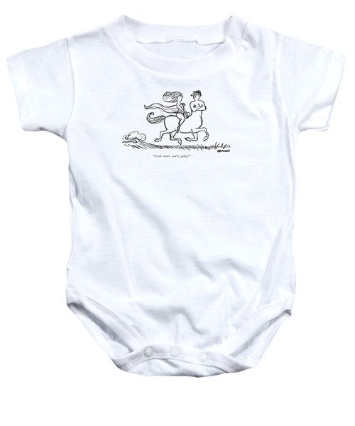 Look Where You're Going! Baby Onesie by Frank Modell