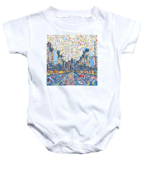 Los Angeles Skyline Abstract 3 Baby Onesie by Bekim Art