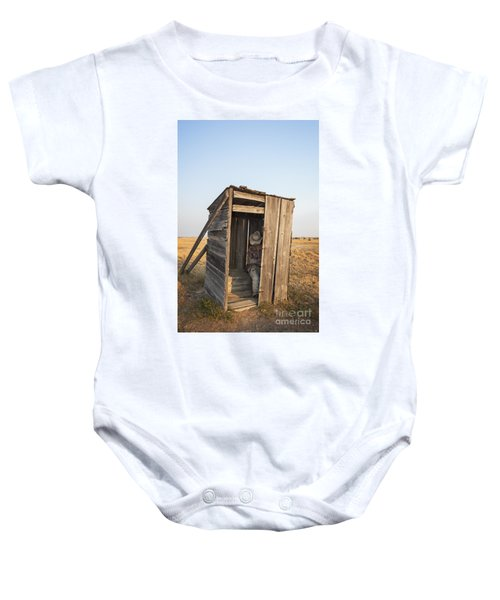 Mannequin Sitting In Old Wooden Outhouse Baby Onesie