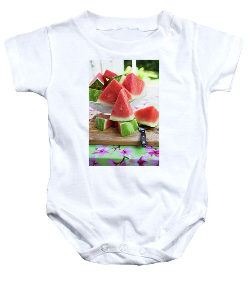 Many Pieces Of Watermelon In A Glass Bowl Baby Onesie