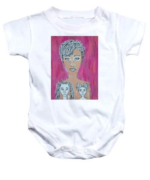 Mother And Daughters Painting And Drawing Baby Onesie