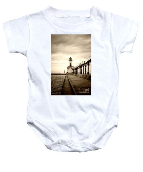 Michigan City Lighthouse Baby Onesie