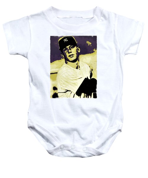 Mickey Mantle Poster Art Baby Onesie by Florian Rodarte