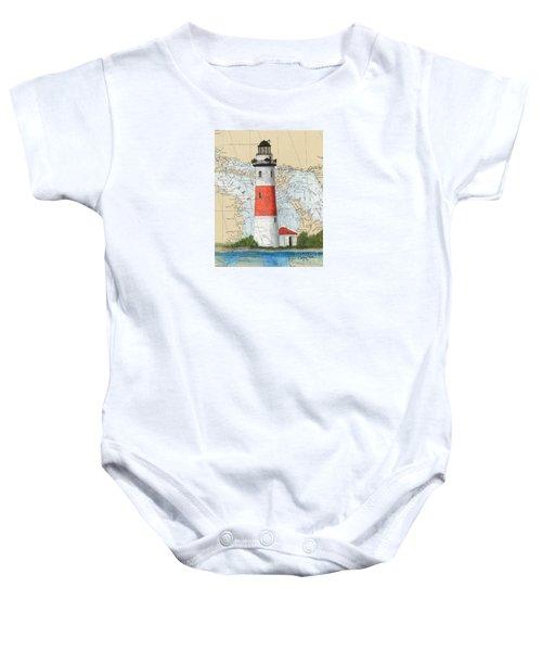 Middle Island Lighthouse Mi Cathy Peek Nautical Chart Art Baby Onesie
