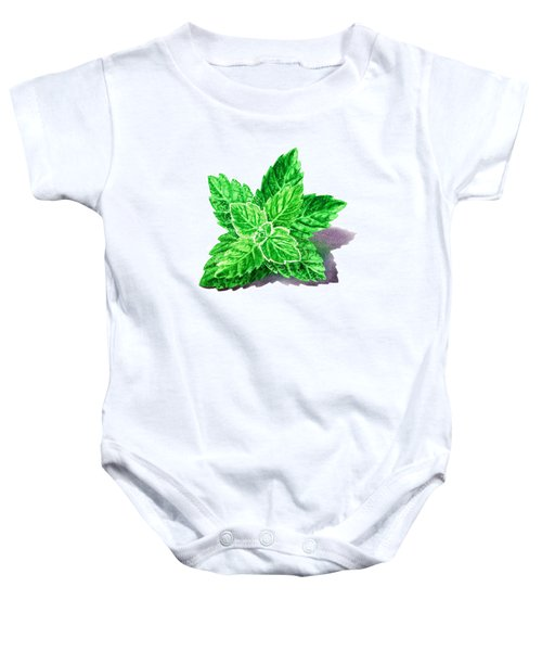 Baby Onesie featuring the painting Mint Leaves by Irina Sztukowski