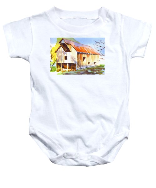 Missouri Barn In Watercolor Baby Onesie