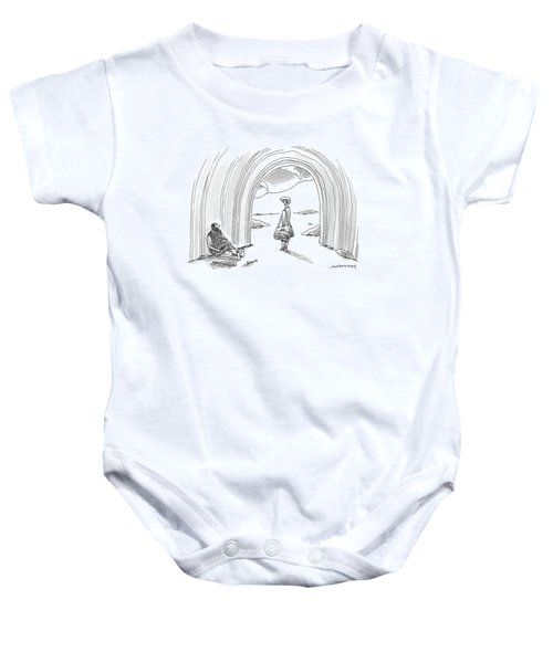 Modern Woman Walking Out On A Caveman Baby Onesie