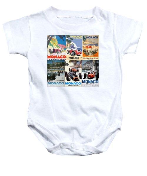 Monaco F1 Grand Prix Vintage Poster Collage Baby Onesie