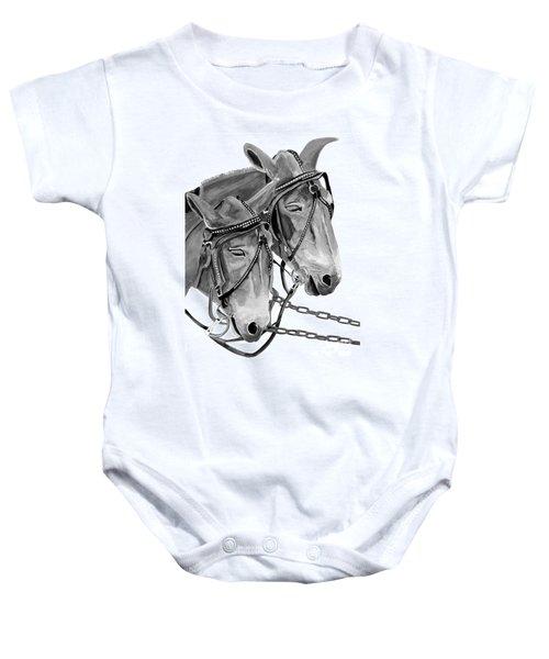 Mules - Beast Of Burden - B And W Baby Onesie