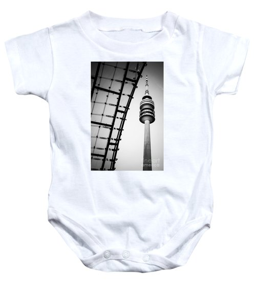 Munich - Olympiaturm And The Roof - Bw Baby Onesie