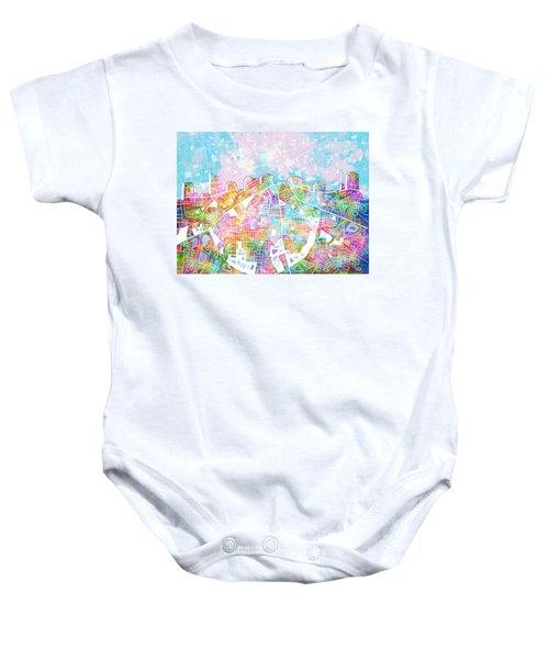 Nashville Skyline Watercolor 8 Baby Onesie