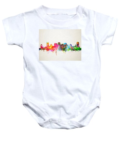 Nashville Skyline Watercolor 9 Baby Onesie by Bekim Art