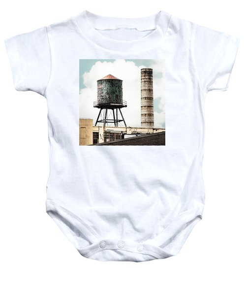 Water Tower And Smokestack In Brooklyn New York - New York Water Tower 12 Baby Onesie