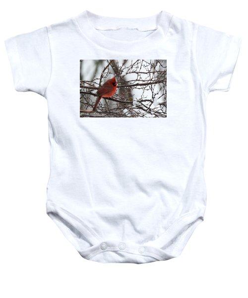 Northern Red Cardinal In Winter Baby Onesie