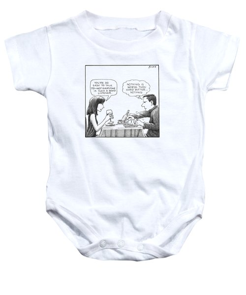 On A Date, A Woman Compliments The Man's Baby Onesie