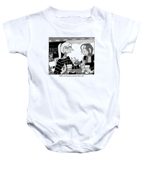 One Woman Speaks To Another Over Coffee Baby Onesie