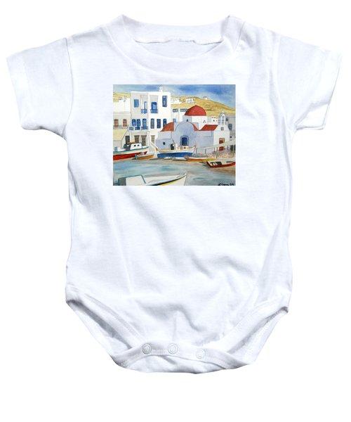 Watercolor - Mykonos Greece Detail Baby Onesie