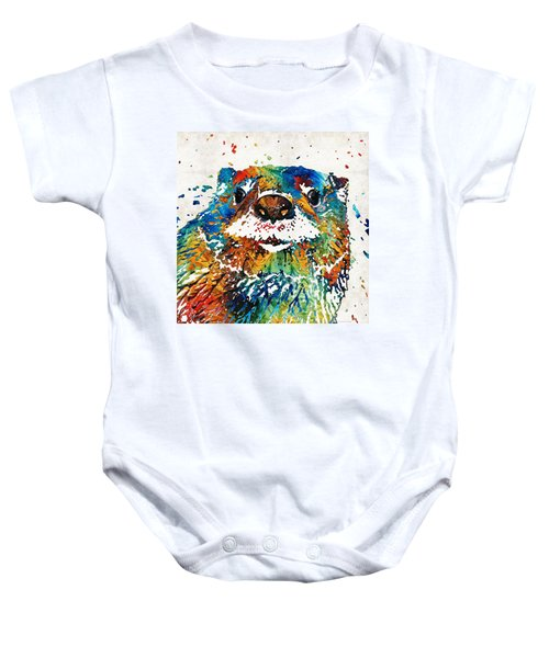 Otter Art - Ottertude - By Sharon Cummings Baby Onesie by Sharon Cummings