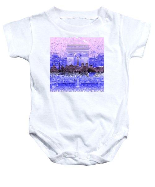 Paris Skyline Landmarks 7 Baby Onesie