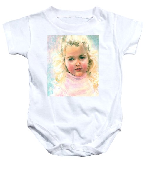 Pastel Portrait Of An Angelic Girl Baby Onesie